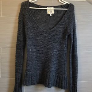 Wide neck mohair and wool sweater
